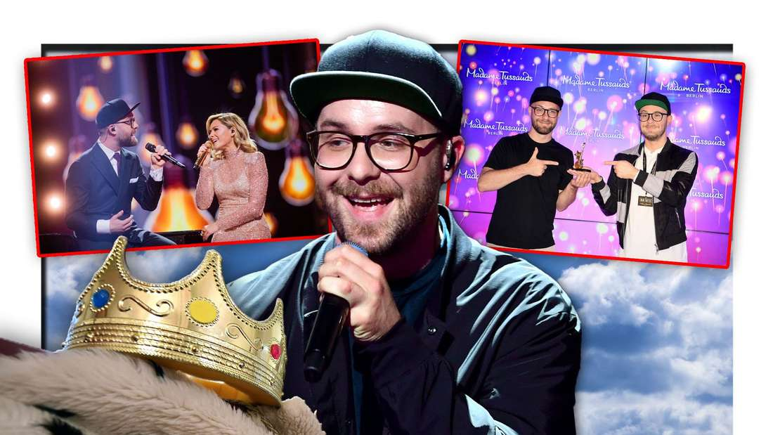 Mark Forster steht neben Krone und Umhang zwischen zwei Fotos, die den Popstar mit Helene Fischer und einer Wachsfigur zeigen (Fotomontage)