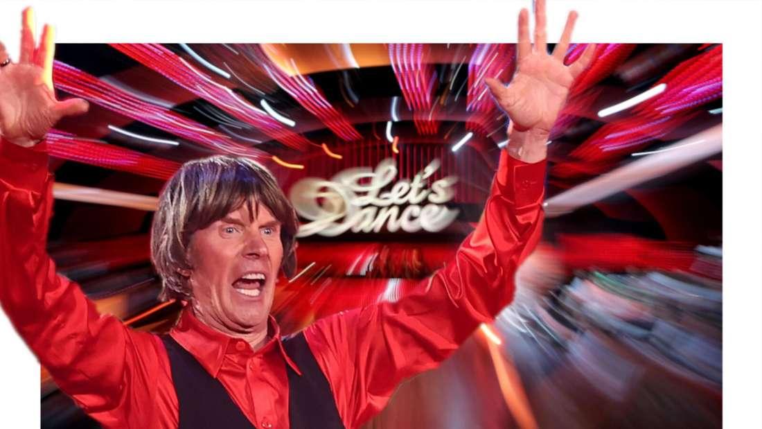 """Mickie Krause reißt die Arme hoch, im Hintergrund das """"Let's Dance""""-Logo (Fotomontage)"""