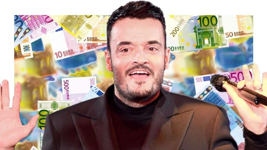 Giovanni Zarrella vor einem Hintergrund aus Geldscheinen (Fotomontage)