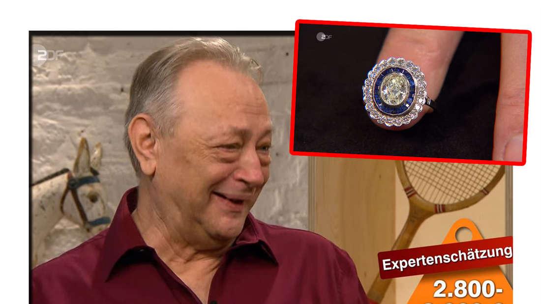 """""""Bares für Rares""""-Verkäufer Joachim Schönlein ist gerührt, daneben ein Bild seines Rings"""
