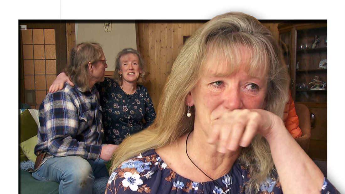 Fotomontage: Steffi vorne wischt sich Tränen weg, im Hintergrund sitzt sie neben Lutz auf der Couch