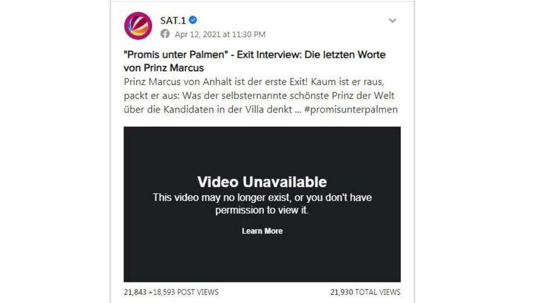 Warum hat Sat.1 das Exit-Video von Prinz Marcus von Anhalt kurz vor Mitternacht wieder gelöscht?