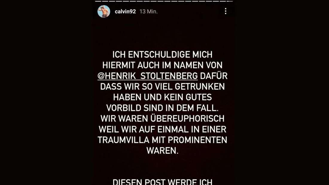 """Calvin Kleinen entschuldigt sich bei Instagram bei seinen Fans für sein Verhalten bei """"Promis unter Palmen"""""""