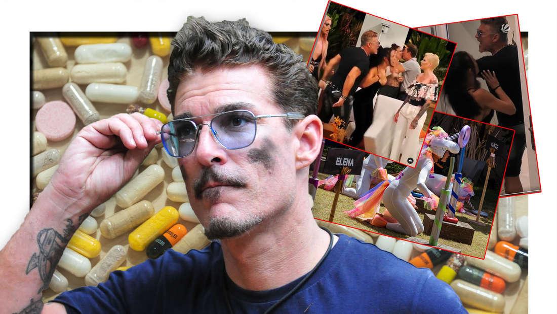 Chris Töpperwien, im Hintergrund Pillen (Fotomontage)
