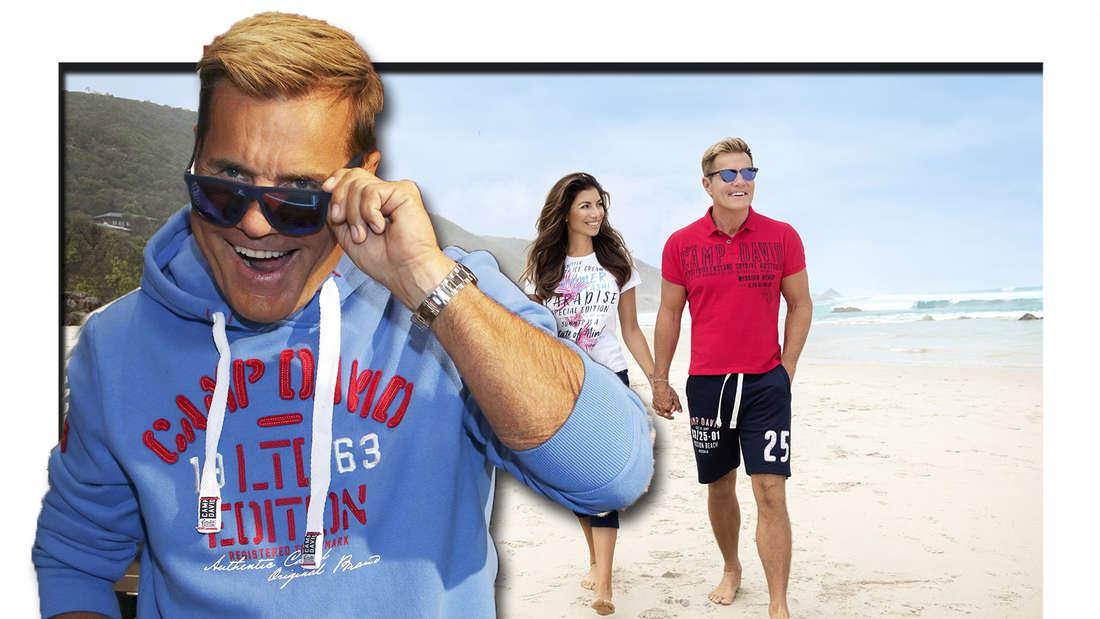 Fotomontage: Dieter Bohlen links, im Hintergrund er mit Carina Walz am Strand