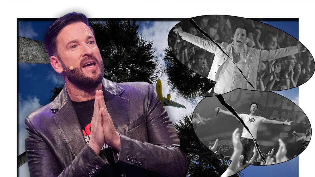 Michael Wendler macht eine bittende Geste, Wendler in der Vergangenheit als Schlagersänger und seine Fans jubeln ihm zu (Fotomontage)