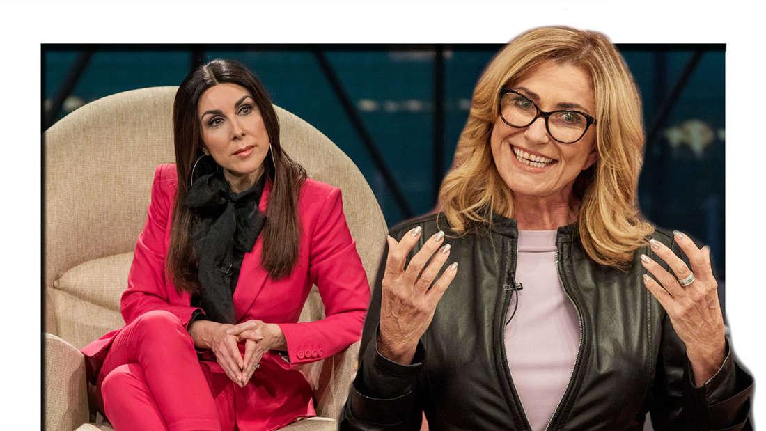 Fotomontage: Judith Williams sitzt auf Stuhl und Dagmar Wöhrl