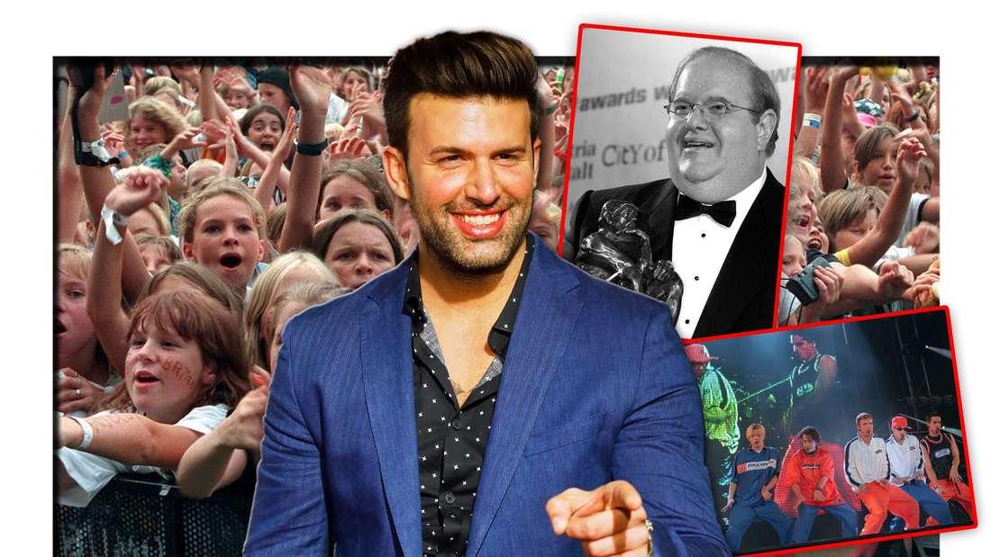 Team 5ünf- und US5-Mitglied Jay Khan steht vor Boygroup-Fans, daneben Manager Lou Pearlman und die Backstreet Boys (Fotomontage)