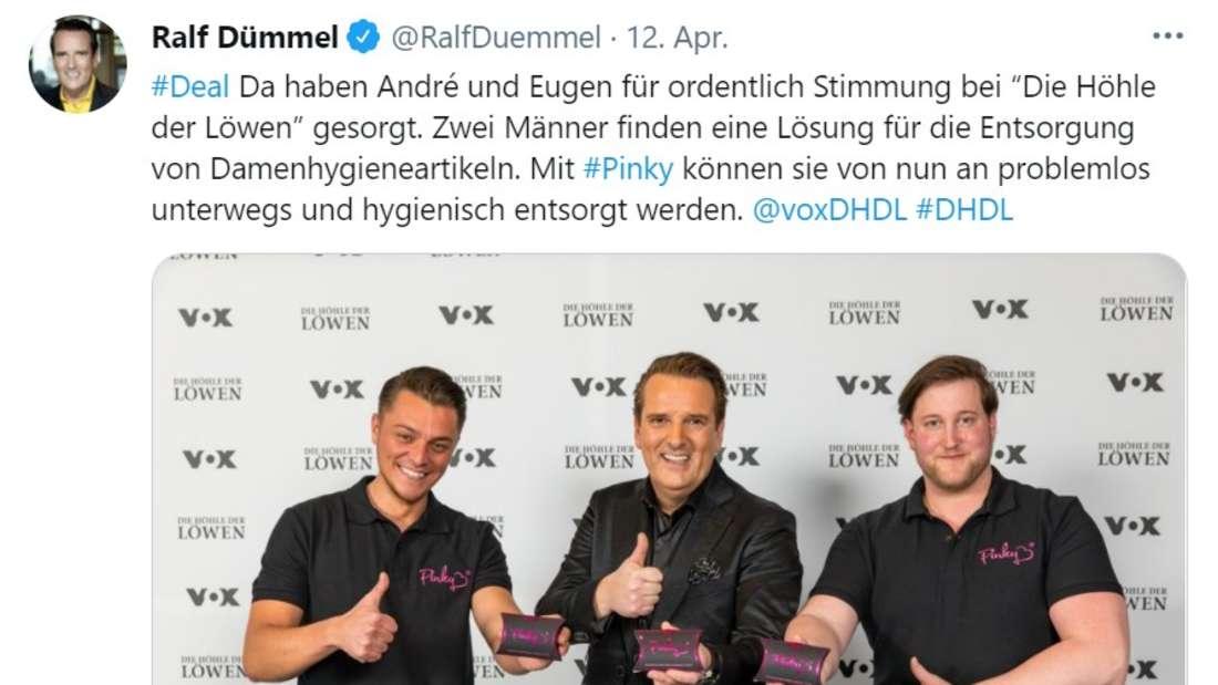 """Screenshot von Twitter-Post Ralf Dümmel und die Gründer von """"Pinky"""""""