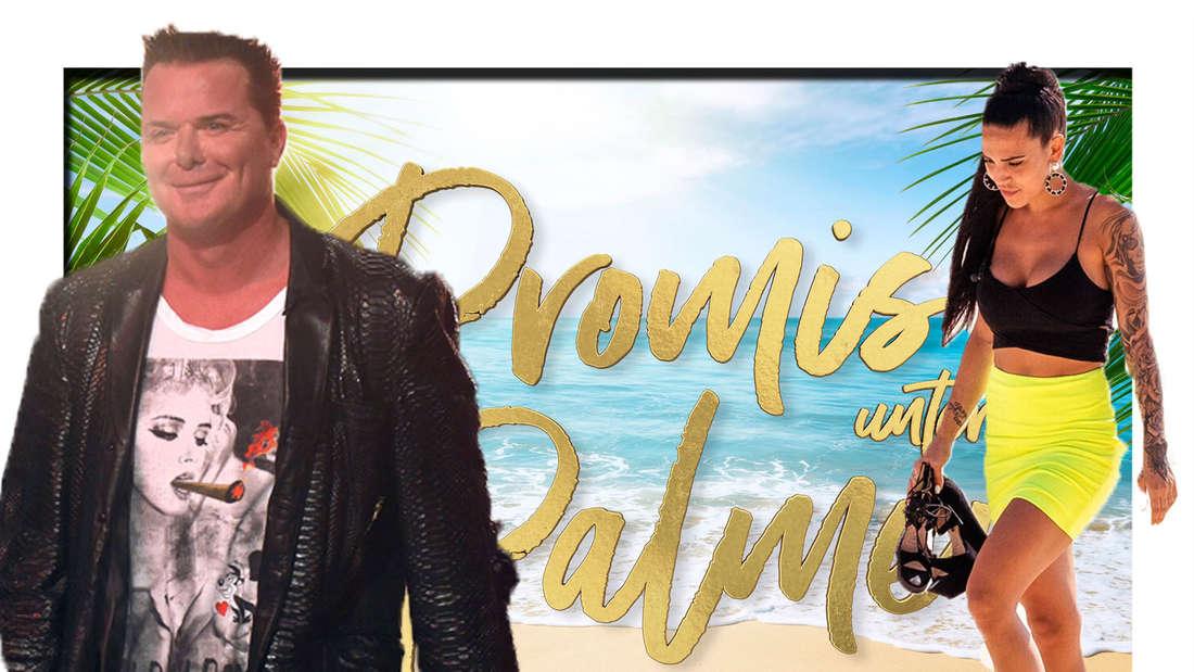 """Prinz Marcus und Elena Miras stehen vor dem """"Promis unter Palmen""""-Logo (Fotomontage)"""
