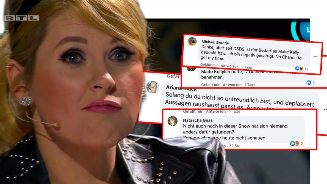 """Maite Kelly bei """"I can see your voice"""". Daneben: Fiese Facebook-Kommentare Maite Kellys Post zu der RTL-Show (Fotomontage)"""