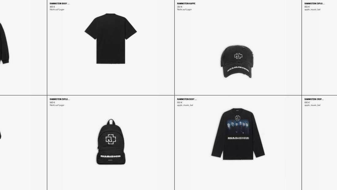 Übersicht über die Rammstein-Produkte der spanischen Designermarke Balenciaga auf deren Website