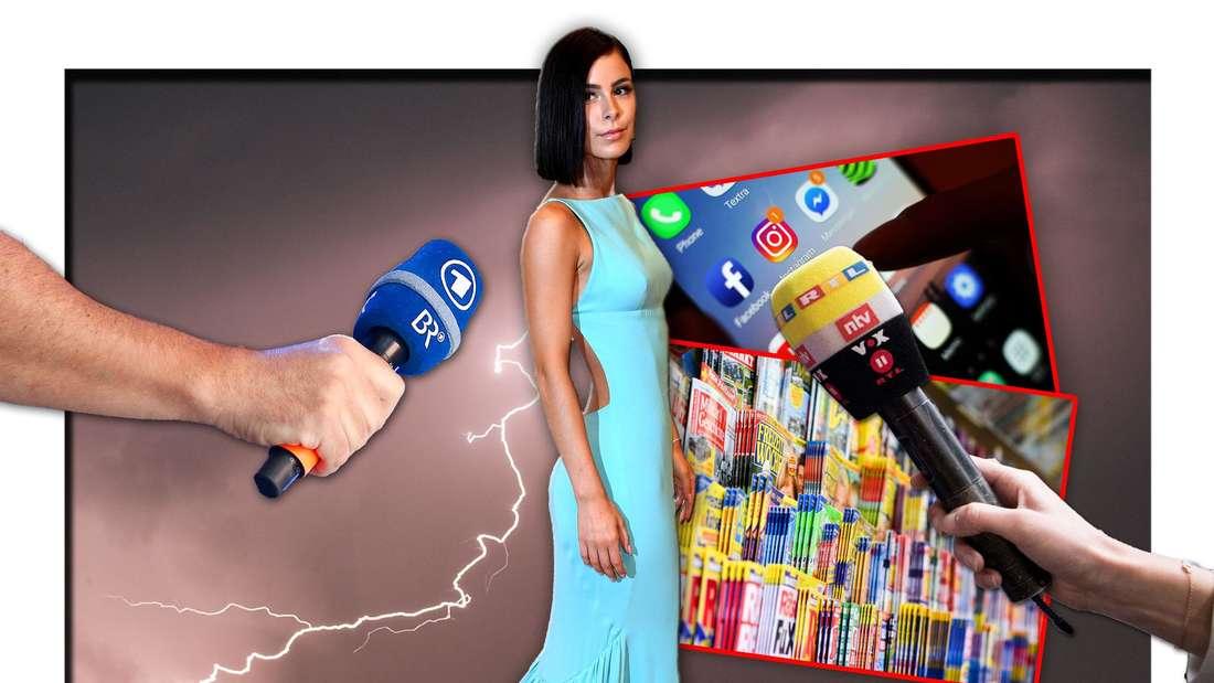Lena Meyer-Landrut steht zwischen zwei Mikrofonen, daneben ein Smartphone und Zeitschriften, im Hintergrund Blitze (Fotomontage)