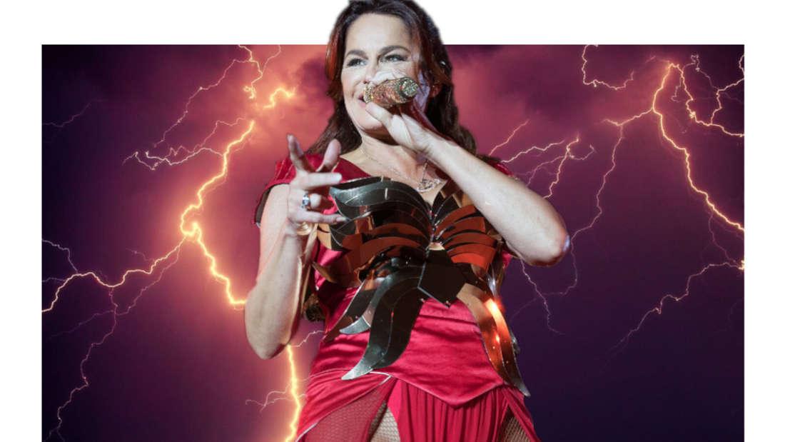 Andrea Berg vor einem Gewitter (Fotomontage)