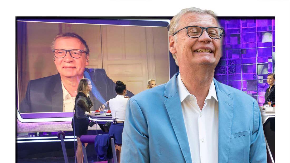 """Fotomontage: Günther Jauch vorne, im Hintergrund eine Szene aus """"Denn sie wissen nicht, was passiert"""""""