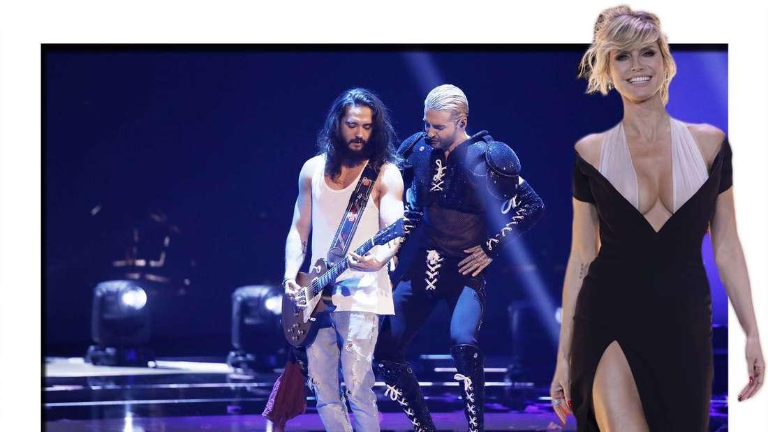 Fotomontage: Heidi Klum vor einem Auftritt von ihrem Mann Tom Kaulitz und dessen Bruder Bill