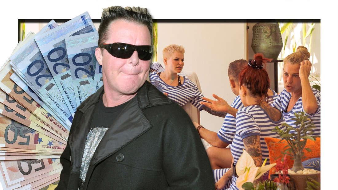 Fotomontage: Pinz Marcus vorne, daneben Geldscheine, im Hintergrund die PuP-Kandidaten