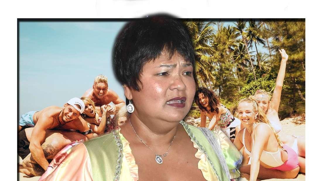 Fotomontage: Die Kandidaten der letzten Staffel am Strand, vorne Narumol