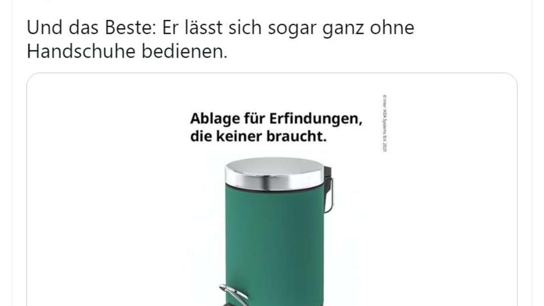 """IKEA postet auf Twitter ein Bild eines Mülleimers. Darüber steht """"Ablage für Erfindungen, die keiner braucht"""""""