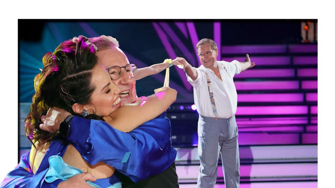 Jan und Christina liegen sich in den Armen - im Hintergrund tanzen sie gemeinsam (Fotomontage)