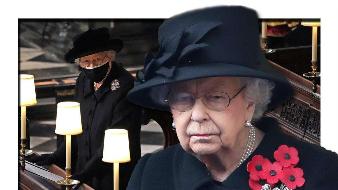 Fotomontage: Vorn schaut die Queen betrübt, im Hintergrund sitzt sie in der Kapelle