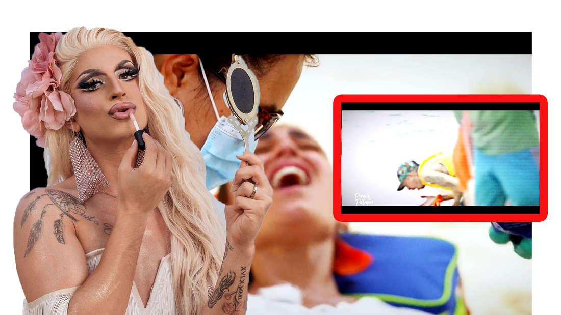 Katy Bähm schminkt sich - dahinter ist Elena Miras mit Schmerz-verzogenem Gesicht zu sehen (Fotomontage)