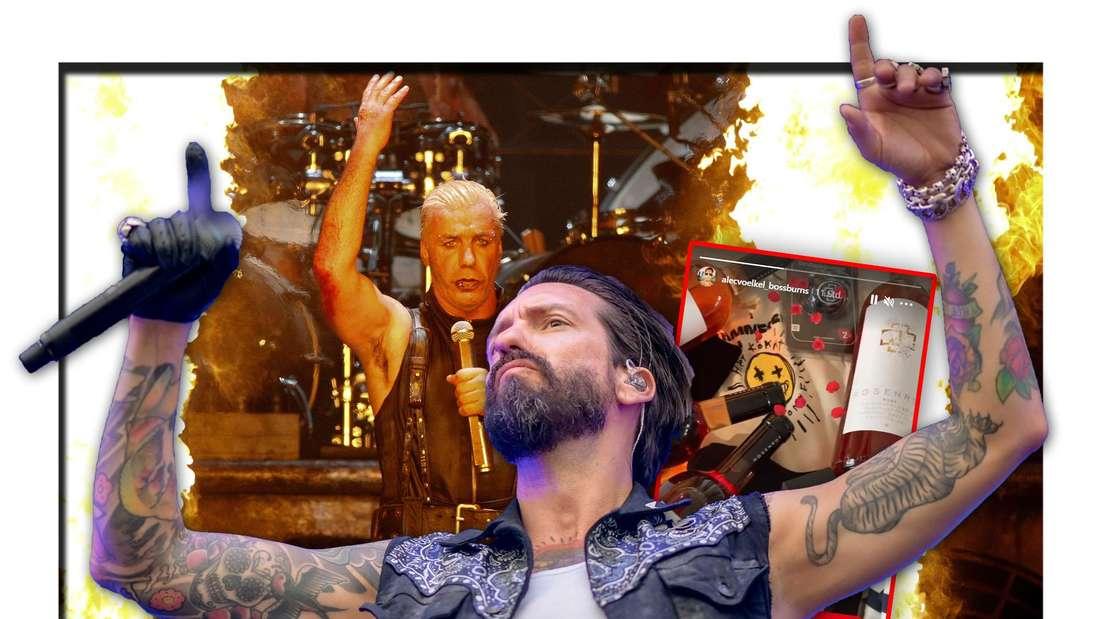 The BossHoss-Frontmann Alec Völkel steht vor Till Lindemann von Rammstein, daneben ein Screenshot seiner Instagram-Story (Fotomontage)