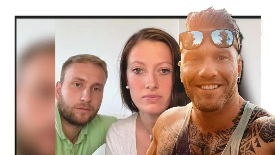 Fotomontage: Im Hintergrund Denise und ihr Verlobter Nils, vorne Till Adam