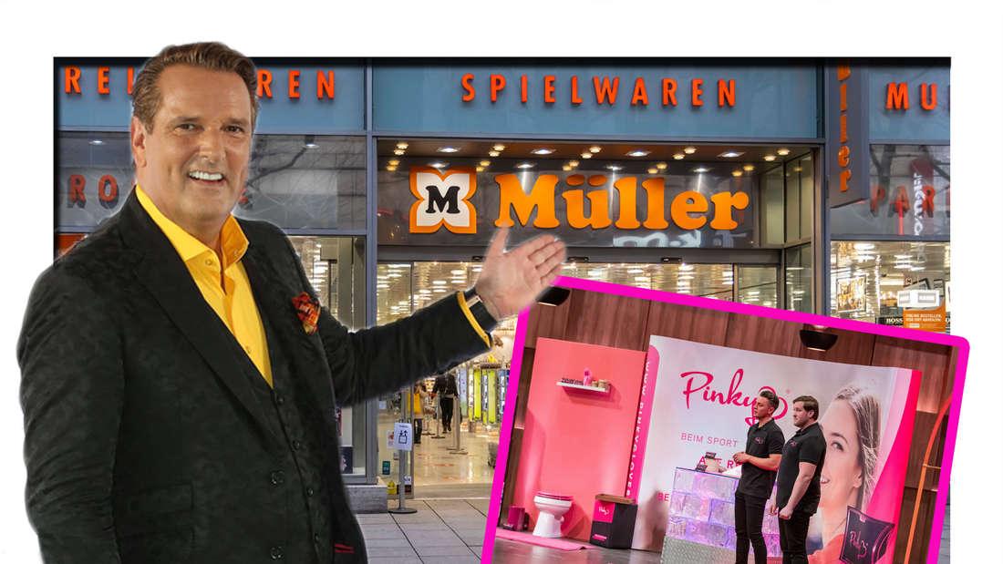 Fotomontage: Ralf Dümmel vor Müller Drogeriemarkt mit Pinky Gloves Gründern