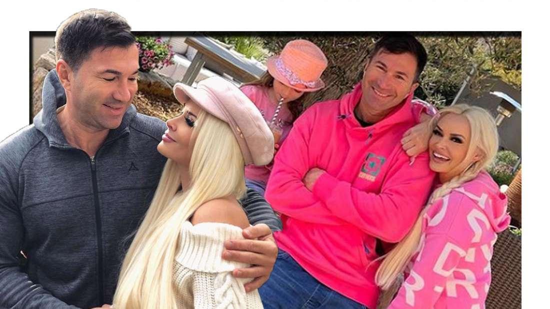 Daniela Katzenberger und Lucas Cordalis umarmen sich - im Hintergrund sind sie gemeinsam mit Tochter Sophia zu sehen (Fotomontage).