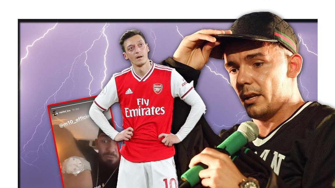Der Rapper Capital Bra und der Fußballspieler Mesut Özil stehen vor hellen Blitzen, daneben ein Screenshot von Instagram (Fotomontage)