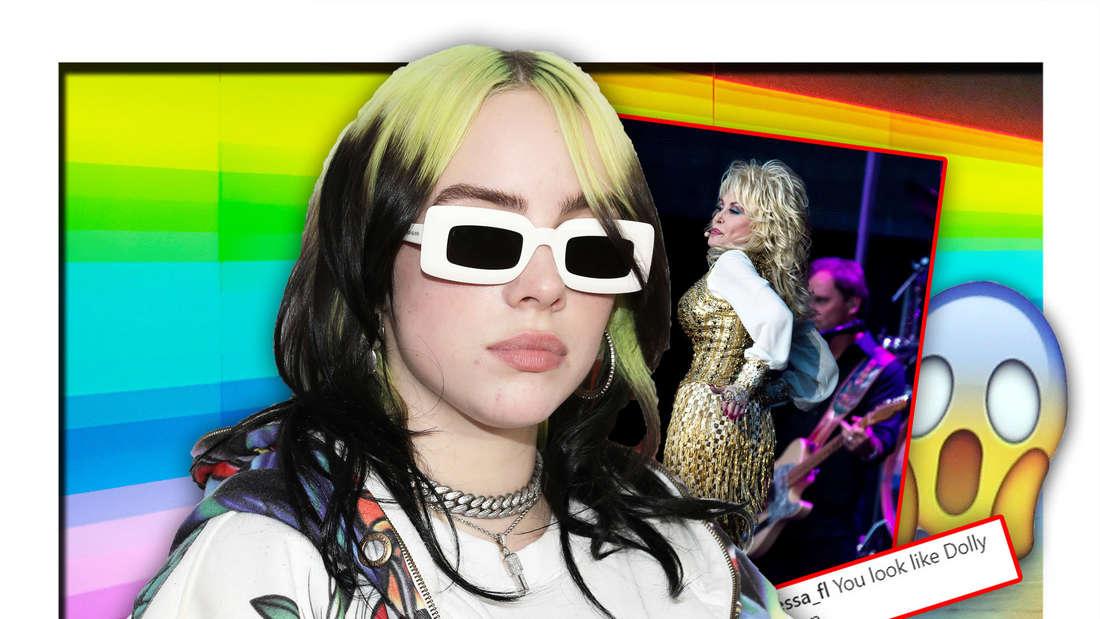 Billie Eilish steht vor einem Bild der Country-Sängerin Dolly Parton, daneben ein Emoji und im Hintergrund Regenbogenfarben (Fotomontage)