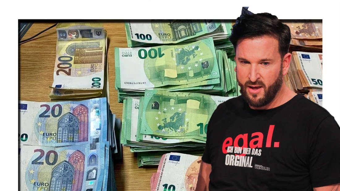 Michael Wendler schaut erstaunt in die Kamera - im Hintergrund sind Geldscheine zu sehen (Fotomontage)