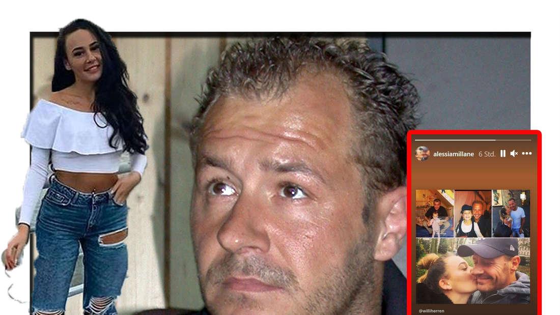 Alessia schaut in die Kamera - im Hintergrund ist ihr Vater Willi Herren zu sehen, daneben sieht man eine Bild-Collage (Fotomontage)