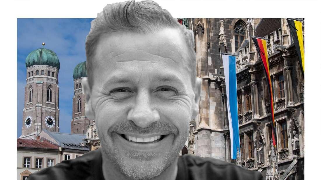 Willi Herren lächelt auf einem schwarz/weiß Foto, im Hintergrund der Marienplatz in München (Fotomontage)