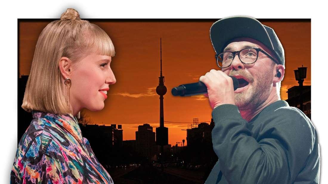 Mark Forster und Popsängerin LEA stehen vor dem rötlichen Abendhimmel Berlins (Fotomontage)