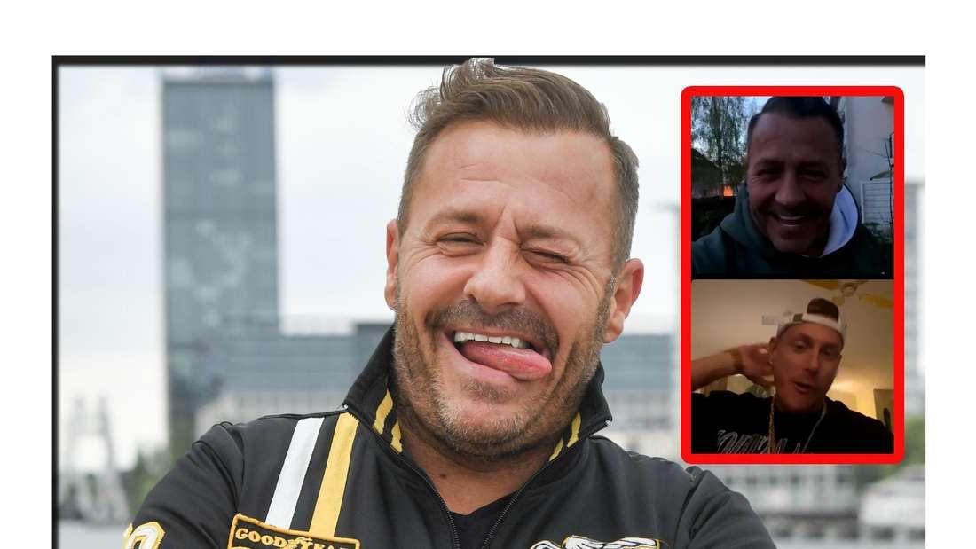 Willi Herren (†45) streckt die Zunge raus - neben ihm ist ein Screenshot von seinem Live-Talk mit Calvin zu sehen (Fotomontage)
