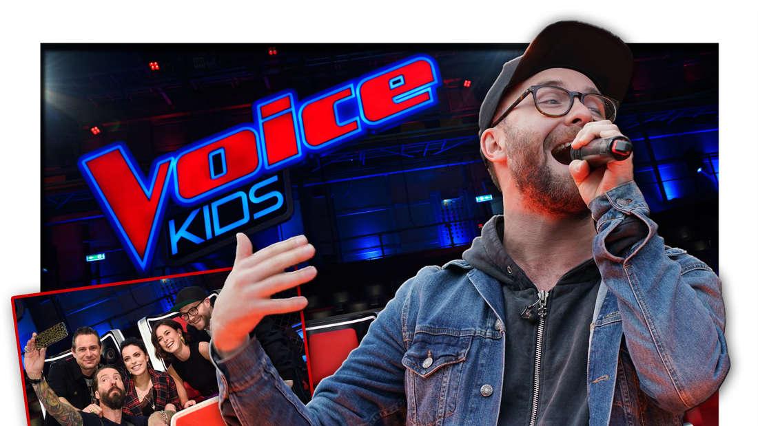"""Mark Forster steht vor dem Logo der Sat.1-Sendung """"The Voice Kids"""", daneben ein Foto von ihm und den ehemaligen Coaches (Fotomontage)"""