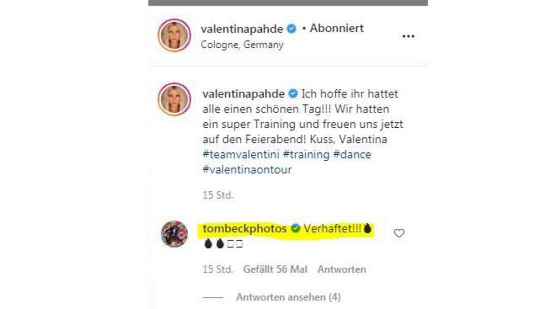 Neben dem Foto von Valentina Pahde kommentierten Tom Beck und dessen Frau.