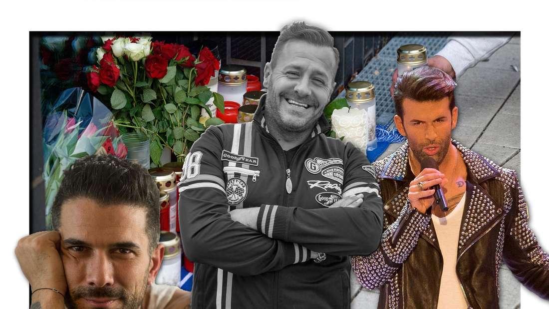Der verstorbene TV-Star Willi Herren steht in der Mitte der Team 5ünf-Mitglieder Marc Terenzi und Jay Khan vor einer Gedenkstätte (Fotomontage)