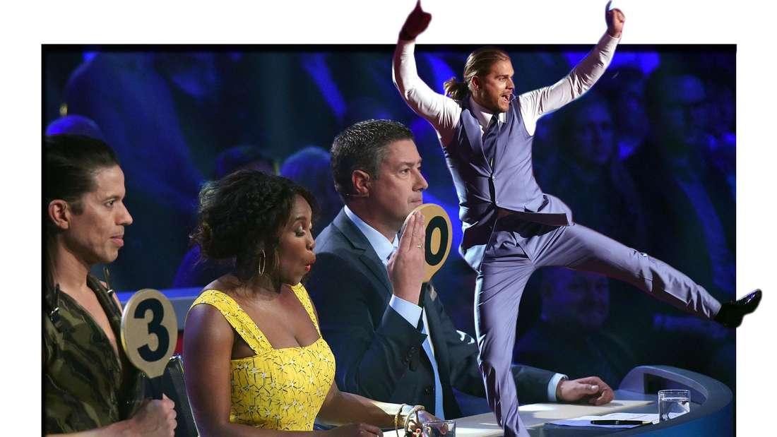 Fotomontage: Let's Dance Jury und  Kandidat Rurik Gislason springt