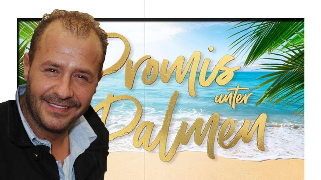 Willi Herren (†45) grinst in die Kamera - dahinter ist das Promis unter Palmen Logo zu sehen (Fotomontage)