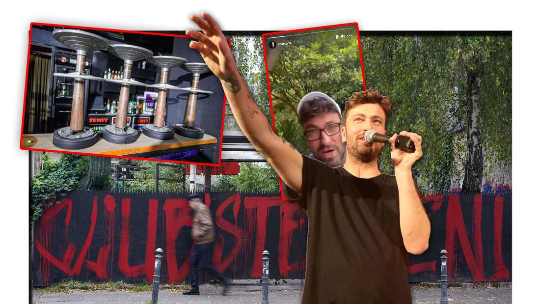Rapper Marteria steht vor einem Mauer, auf der das Wort 'Clubsterben' steht, daneben ein Screenshot seiner Instagram-Story (Fotomontage)