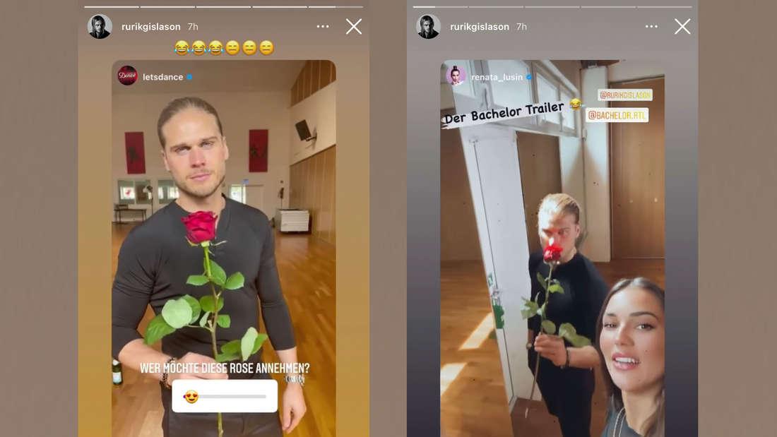 Fotomontage: Rúrik Gíslason hält Rose in Instagram Story mit Renata Lusin