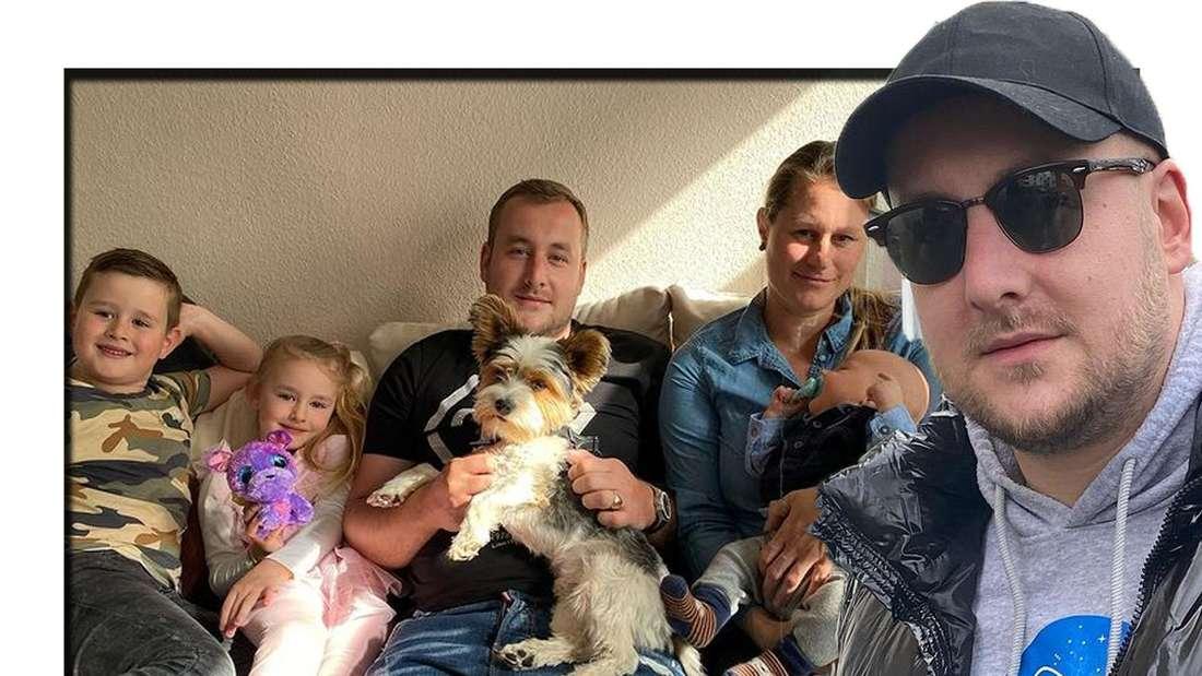 Patrick Lorenz schaut in die Kamera - im Hintergrund ist seine Familie zu sehen (Fotomontage)