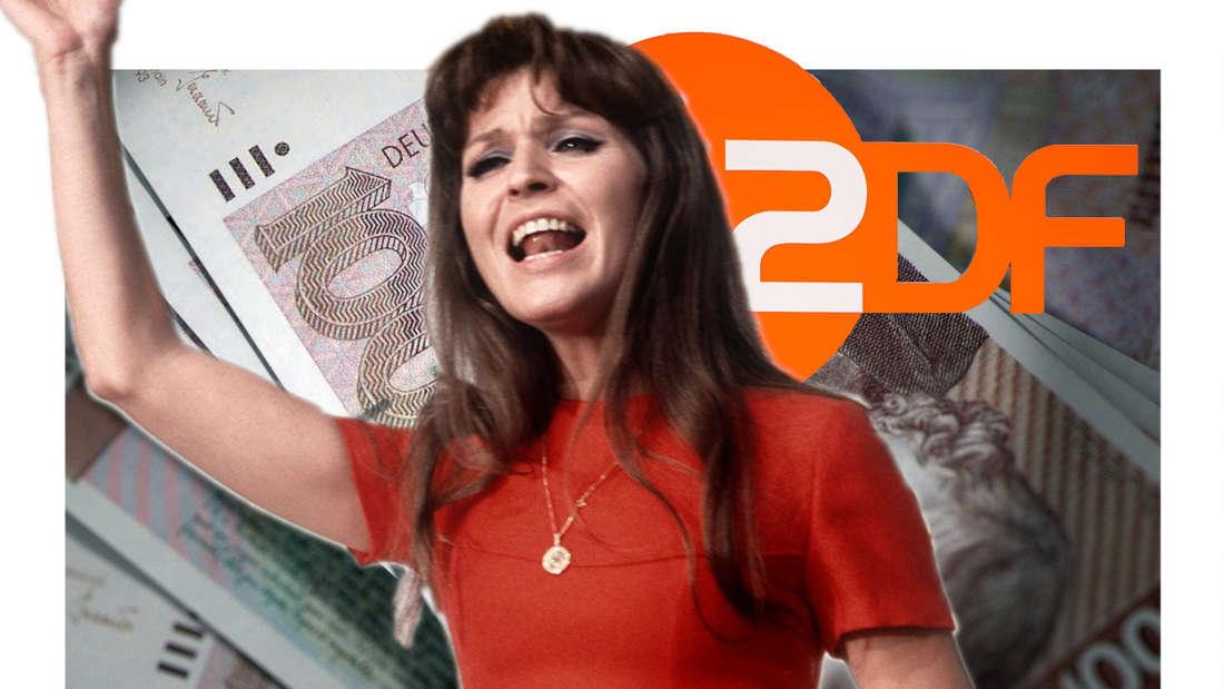 Manuela hebt die Hand, im Hintergrund D-Mark-Scheine und ein ZDF-Logo (Fotomontage)