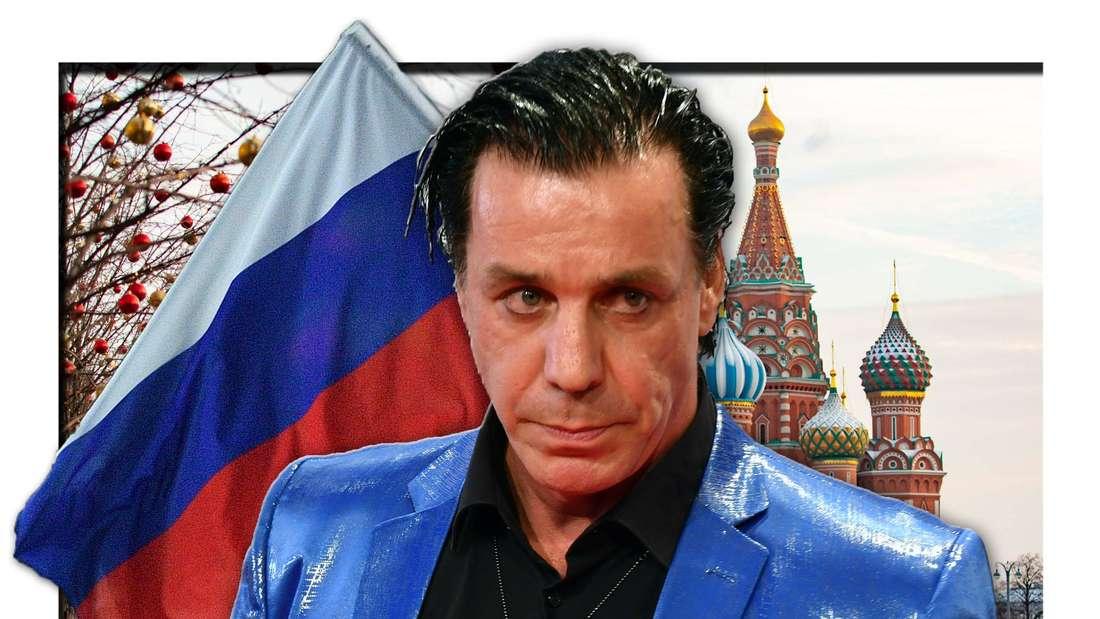 Rammstein-Frontmann Till Lindemann steht neben der russischen Flagge und vor dem Kreml in Moskau (Fotomontage)