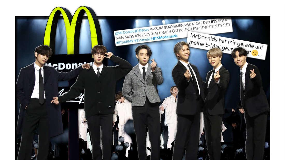 Die koreanische K-Pop-Band BTS steht vor dem McDonald's-Logo, daneben Fan-Reaktionen von Twitter (Fotomontage)