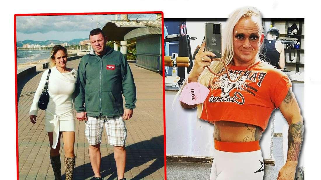Fotomontage: Links ein zehn Jahre altes Bild von Caro und Andreas, rechts macht Caro ein Selfie