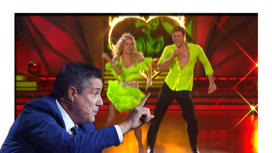 "Fotomontage: Simon Zachenhuber und Patricija Belousova tanzen Salsa bei ""Let´s Dance"", davor Juror Joachim Llambi"